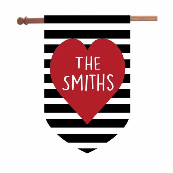 Personalized Heart Stripe House Flag