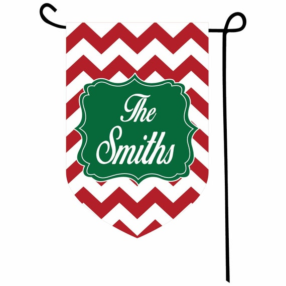 Personalized Christmas Chevron Flag
