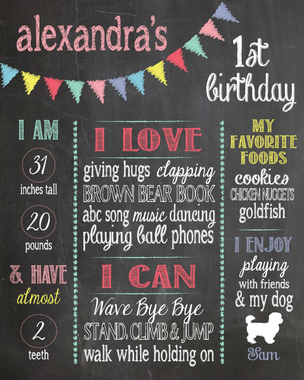 Chalkboard Sign, First Birthday Poster, 1st Birthday Sign
