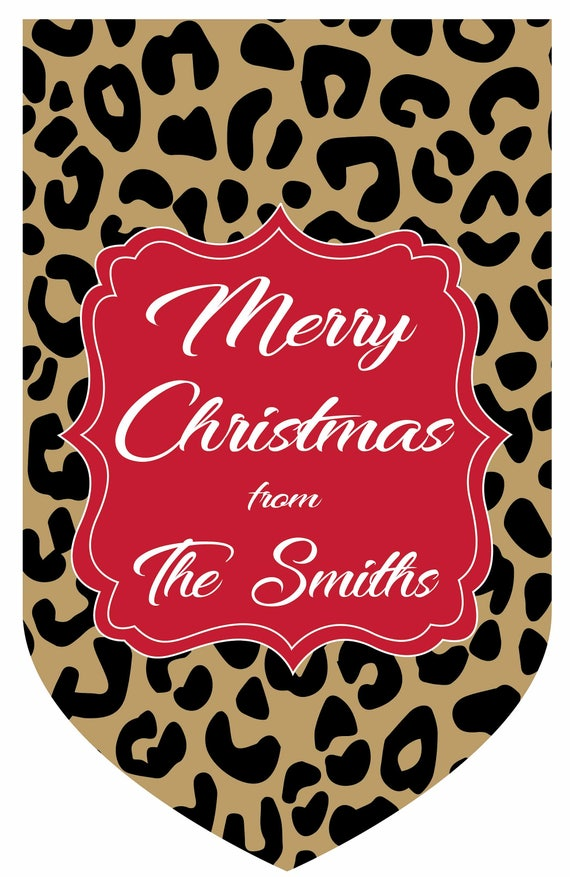 Personalized Leopard Christmas House Flag