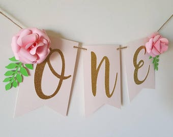 Floral ONE highchair banner Pink Gold