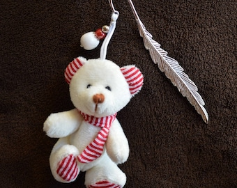 """""""Victor"""" bookmarks feather 12 cm Teddy bear Christmas kids silver"""