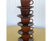 Sheffield Amberstone Brown Homer Laughlin Fiestaware Tea Cup Saucer Set USA