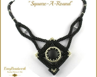 """Beading Pattern for the  """"Square-a-Round""""  Necklace pa-030"""