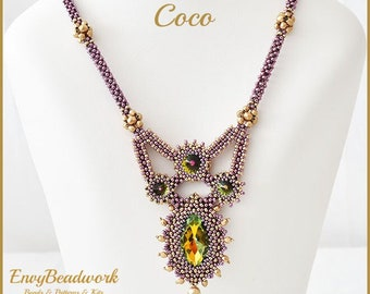 Limited Color Kit Coco Necklace Eggplant Chamapgne lc-023 ( Shipping and free pattern included)