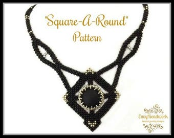 "Beading pattern Necklace ""Square-a-Round"" in English   D.I.Y"