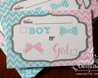 Chevron Gender Reveal Ballot Card Mustache and Lips Digital File Little He or Little She