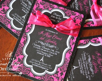 Invitation / Sweet 16 / Quinceanera / Parisan / French / Hot Pink / Black / Bow / Birthday / Party / Bridal Shower / Lingerie Shower /