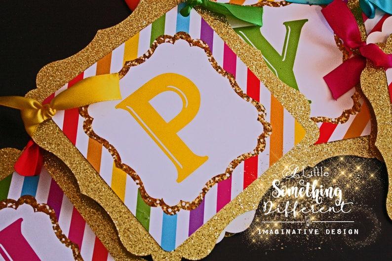 Rainbow Party Decorations  Rainbow Party Banner Supplies  Decor  Birthday Party  Rainbow Themed