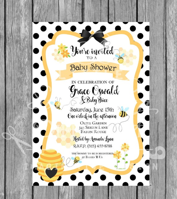 Baby Bee Gender Neutral Baby Shower Invitation Invite Etsy