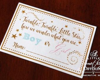 Twinkle Little Star Gender Reveal Ballot Card, Gender Voting Card, Star Themed Gender Reveal Card, Gender Reveal Game, Gold Star Ballot