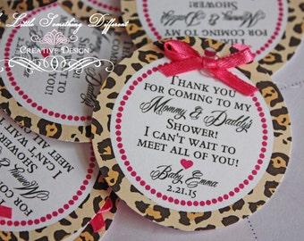 Favor Tags Cheetah Print and Hot Pink / Cheetah Favor Tags / Cheetah Thank You Tags / Cheetah Tags / Leopard Favor Tags