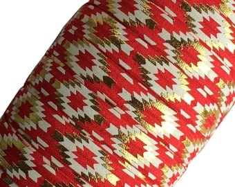 "Red with Gold Aztec 5/8"" Fold Over Elastic by the Yard - 1, 3 or 5 yards"
