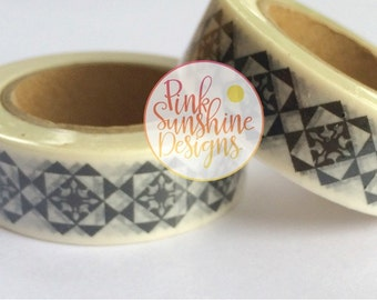 Black and White Aztec Washi Tape 15mm