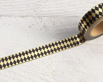 Black and Gold Foil Argyle Washi Tape 15mm x 10m