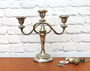 Vintage Candelabra Triple Arm / 3 Stem English Silver Plate Candle Holder Centrepiece