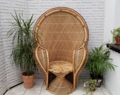 Classic Peacock Chair Cobra Armrests Vintage 1970s Bohemian Wicker Cane