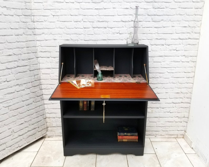 Vintage Design Bureaustoel.Vintage Bureau Bookcase Writing Desk Liberty Ianthe Etsy