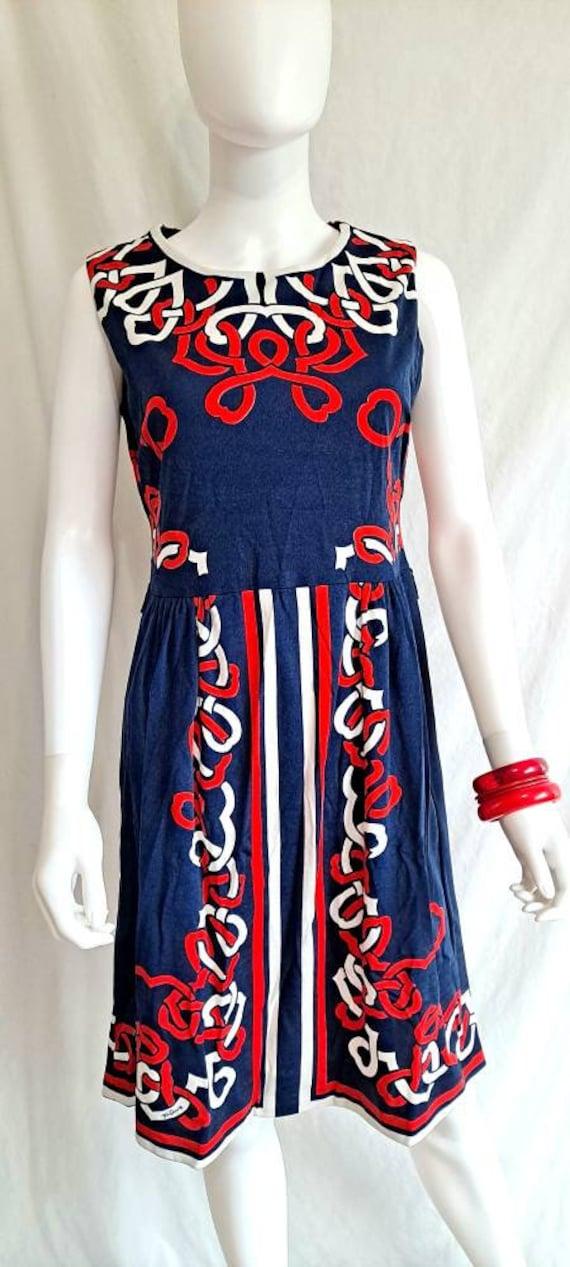 1970s Mr Dino Red White Blue Geometric Sleeveless