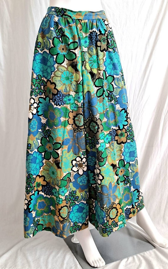 1970s Floral Palazzo Bell Bottom Pants - image 4