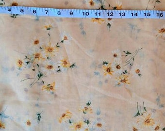 Vintage 1960s 1970s Sheer Floral Yellow Fabric 5 Yards