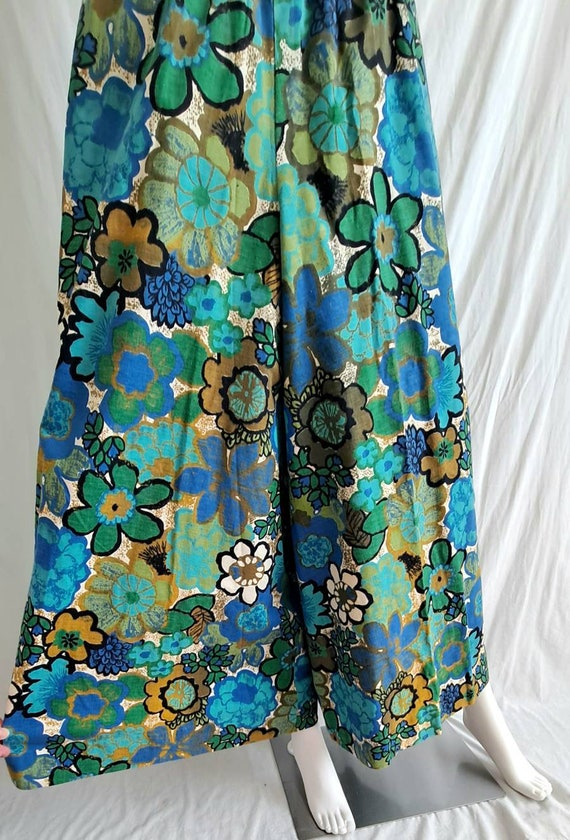 1970s Floral Palazzo Bell Bottom Pants - image 2