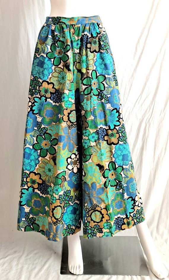 1970s Floral Palazzo Bell Bottom Pants - image 6