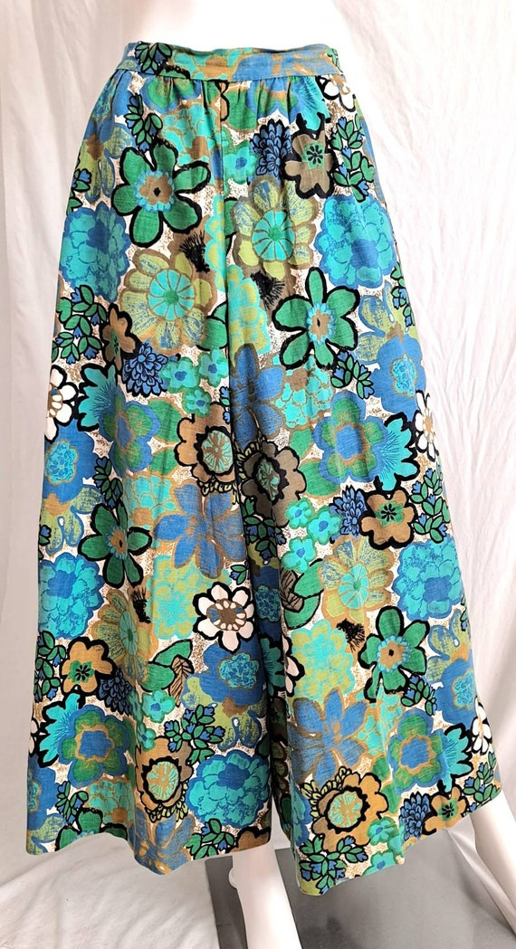 1970s Floral Palazzo Bell Bottom Pants