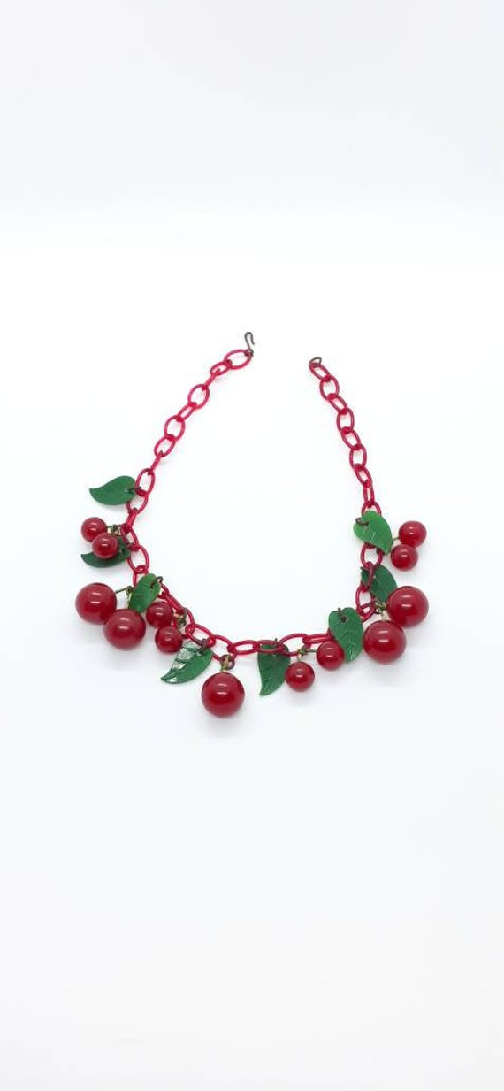 1940s Novelty Bakelite Cherries Charm Necklace Che