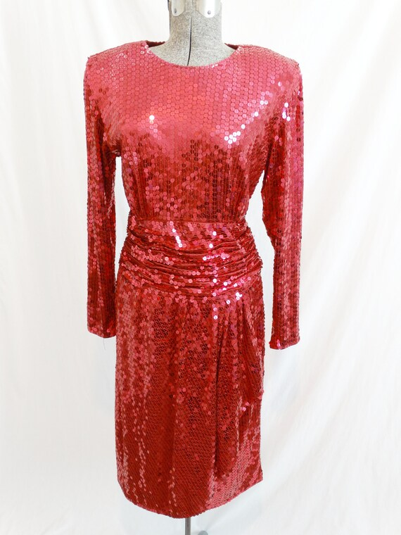 1980s Oleg Cassini Raspberry Red Sequined Dress 36