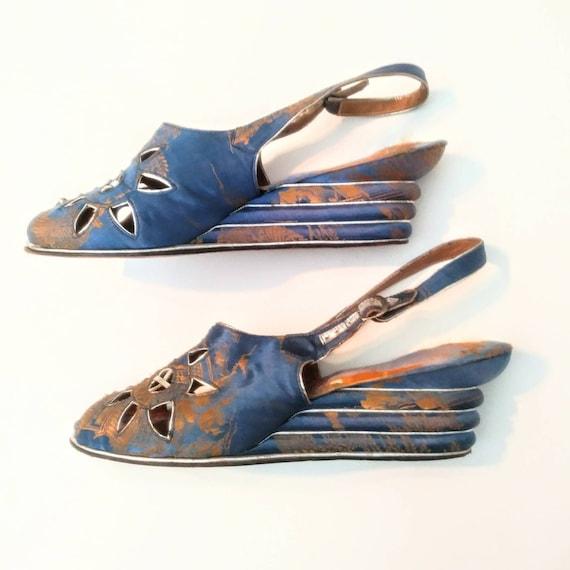 1940s Blue Peep Toe Wedge Beach Sandals Post WW2 W