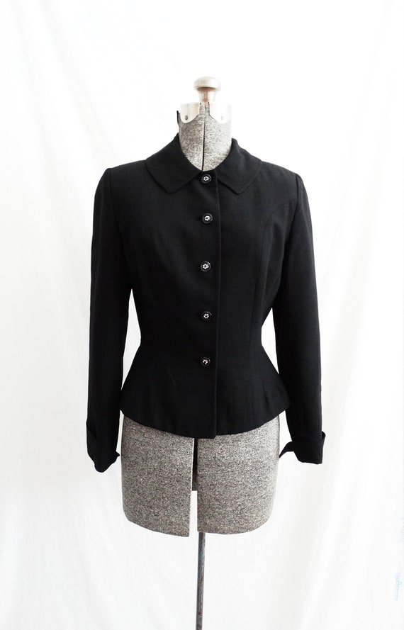 1950s Kerrybrooke Black Wool Suit Jacket Nipped Wa