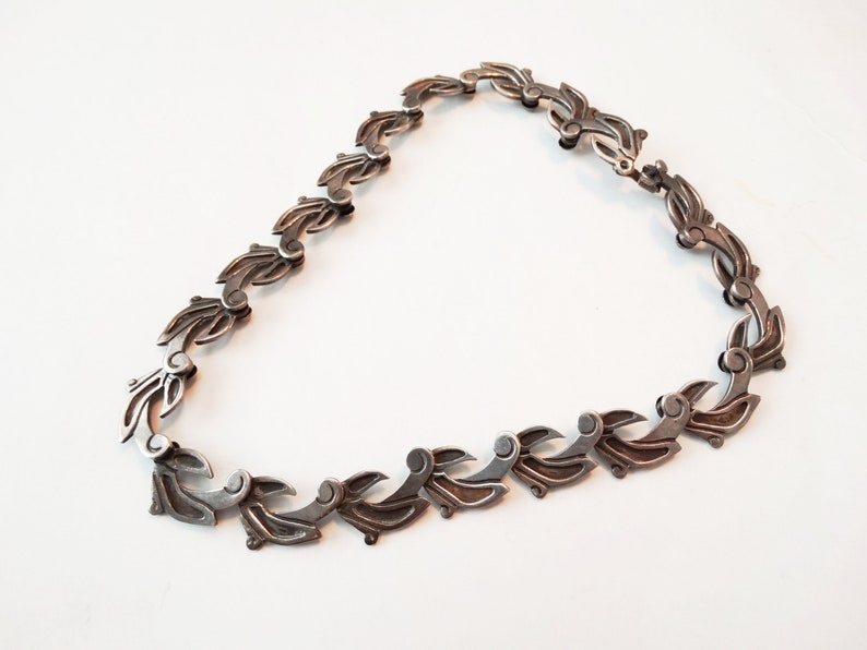 1940s Taxco Mexican Sterling Silver Modernist Stylized Bird Choker Necklace 17 Inch 90 Grams