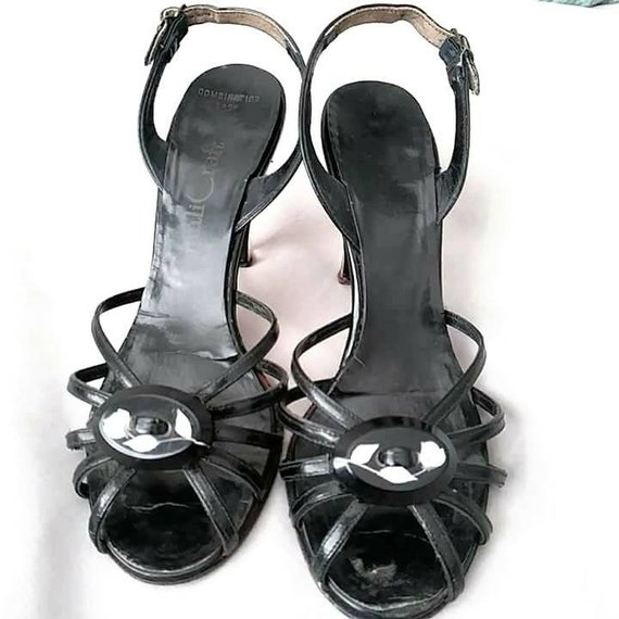 Lucite Heels White Black Flower Reverse Lucite Carved 1950s Heels and Strappy Clear High Qualicraft vpYAwBn7q