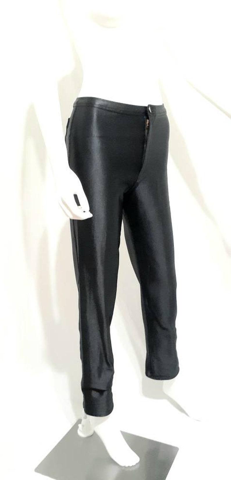 1980s Fredericks of Hollywood Black Satin Lycra Stretch Pants