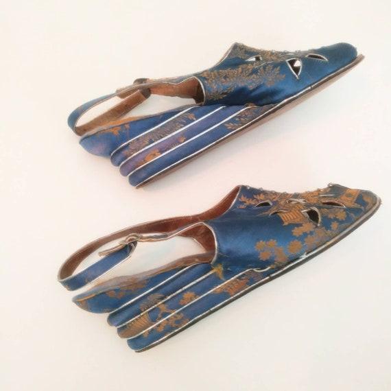 1940s Blue Peep Toe Wedge Beach Sandals Post WW2 … - image 3