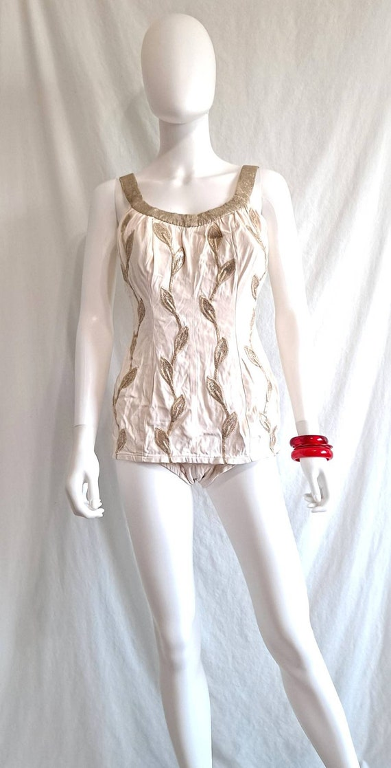 1950s Gold and White Embroidered Deweese One Piece