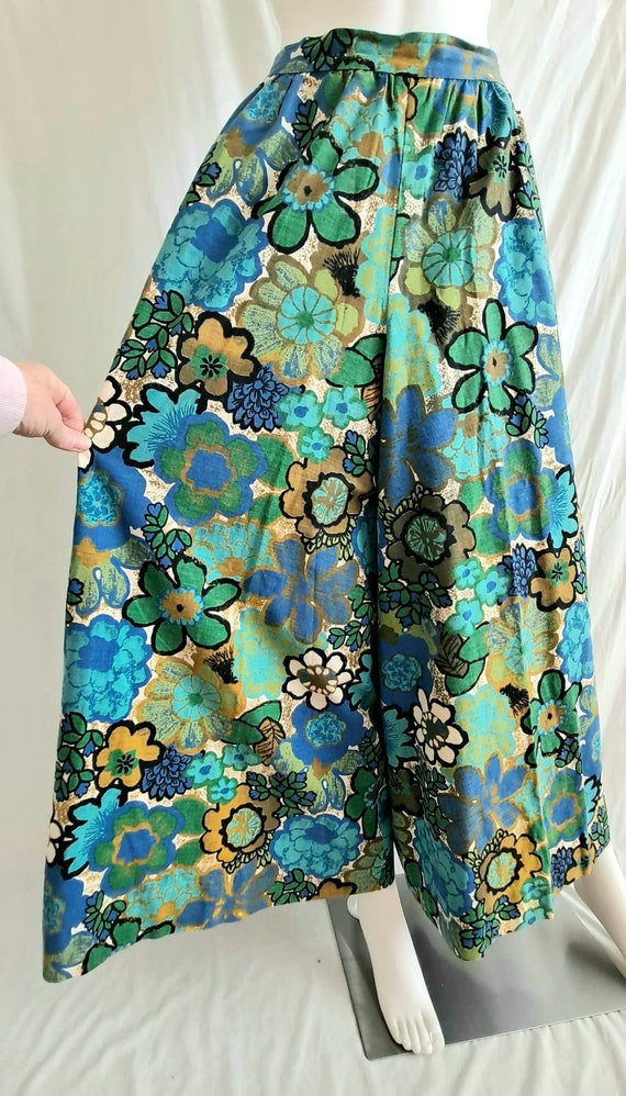 1970s Floral Palazzo Bell Bottom Pants - image 8