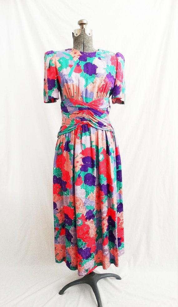 1980s Horchow Silk Floral Dress Ruched Waist Short