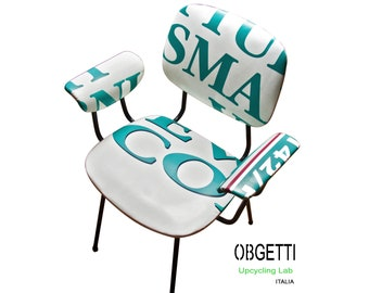 Upcycled Chair - Creative chair steel enamelled frame, upcycled pvc banner covering seat and chair back upcycling by Obgetti Furniture