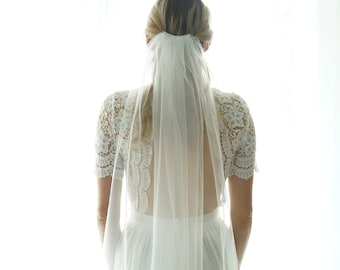Soft Bridal Wedding Veil, white ivory bridal Veil Elbow Fingertip Floor Chapel Cathedral length veil bridal veil cut veil, Simple Sheer Veil