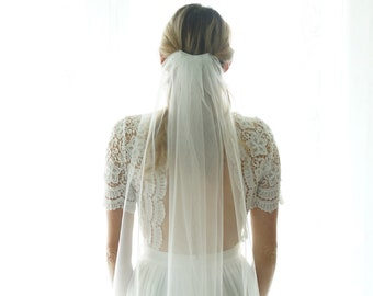 Fingertip length Wedding Bridal Veil, white veil, ivory veil, Wedding veil, veil bridal veil cut veil, tulle veil gift  - Fast Shipping