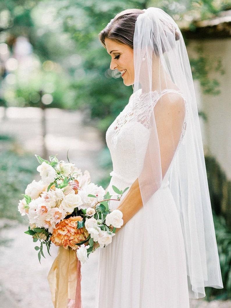 Soft Bridal Wedding Veil white ivory bridal Veil Elbow image 0