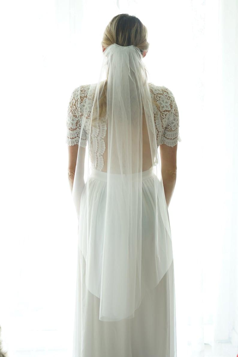 Fingertip length Wedding Bridal Veil white veil ivory veil image 0