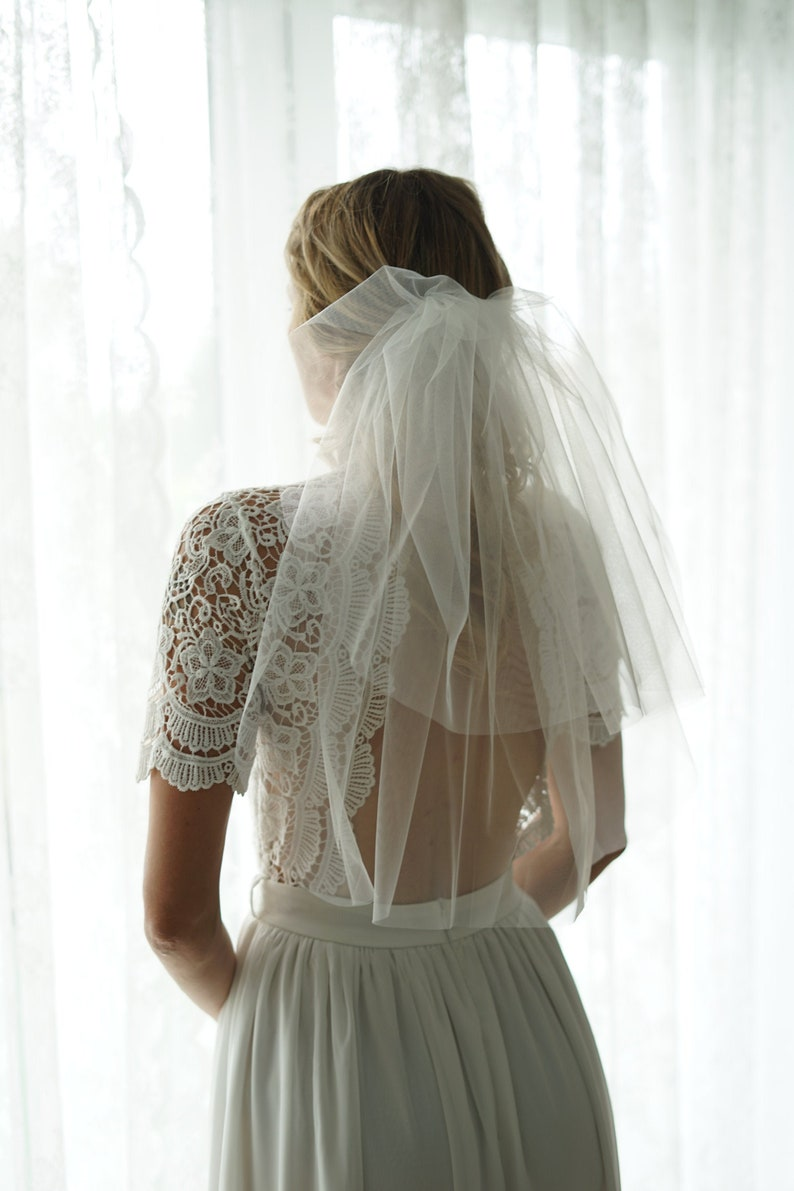 Double Short bridal Veil Shoulder Wedding Veilwhite  ivory image 0