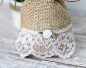 1 Shabby Chic handmade and designed by Belensshop//Wedding//Shower//party//favor// burlpa gift// Tea bag