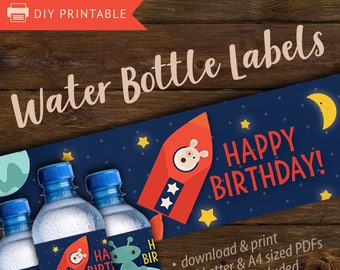 Water bottle labels, space bottle labels, printable water bottle labels for kids space theme birthday parties, space party label, pretty inc