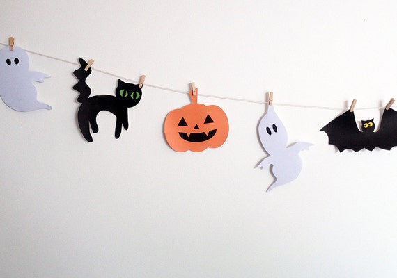 Halloween Garland Halloween Decoration Ideas Printable Halloween Banner Halloween Bunting Black Cat Bats Ghosts Spiders Pretty Inc