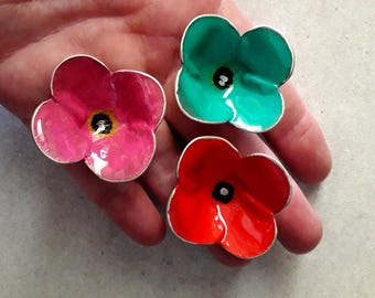 sterling silver 925 ring,handpainted with acrylics,adjustable ring,for her,Poppy Ring, Flower Jewllery, Statement Ring, Gift Idea