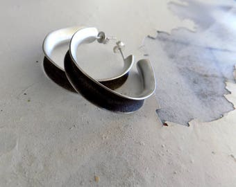 sterling silver circle earrings 925,oxidized,matte finish